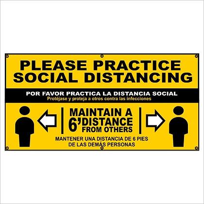 Practice Social Distancing Yellow Banner