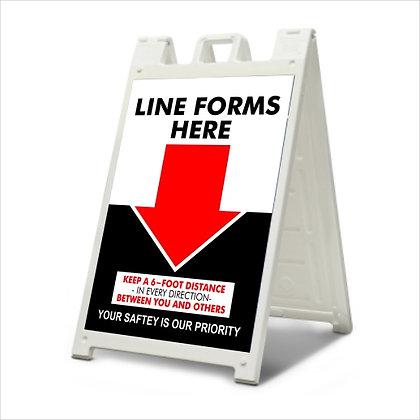 Line Starts Here - A-Frame Sign