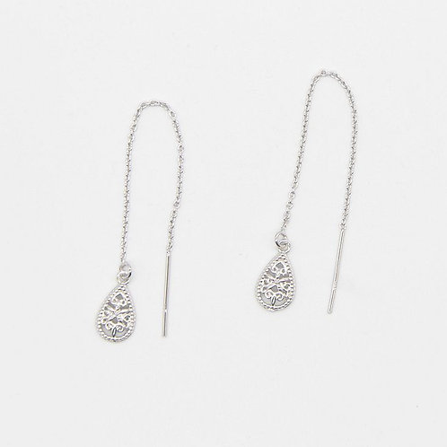 Teardrop Filigree Threader - Rhodium