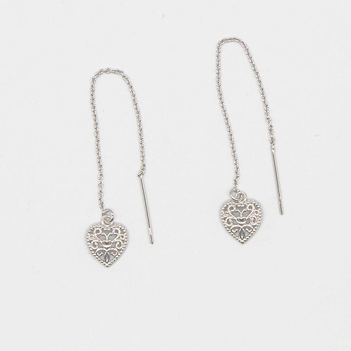 Heart Filigree Threader - Rhodium