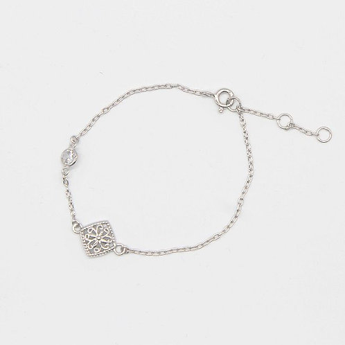 Square Drop Filigree Bracelet - Rhodium