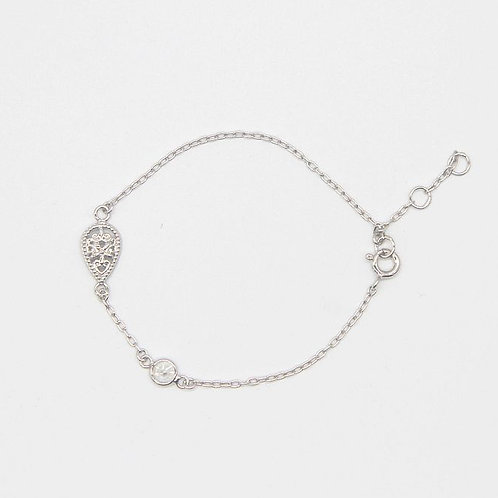 Teardrop Filigree Bracelet - Rhodium
