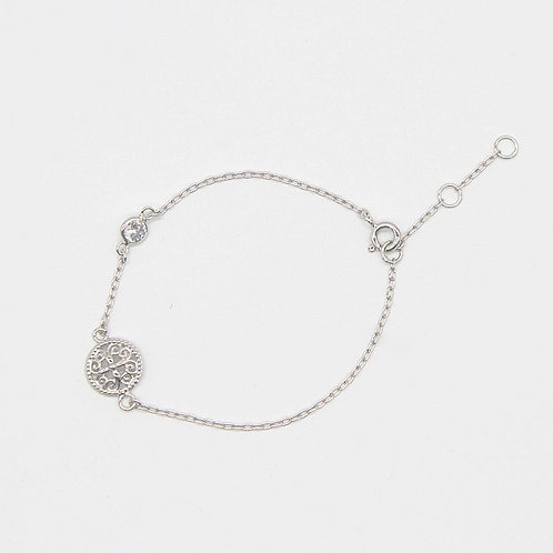 Circular Drop Filigree Bracelet - Rhodium