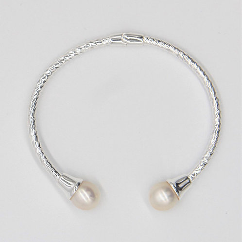 Fresh Water Pearls Bangle - Silver