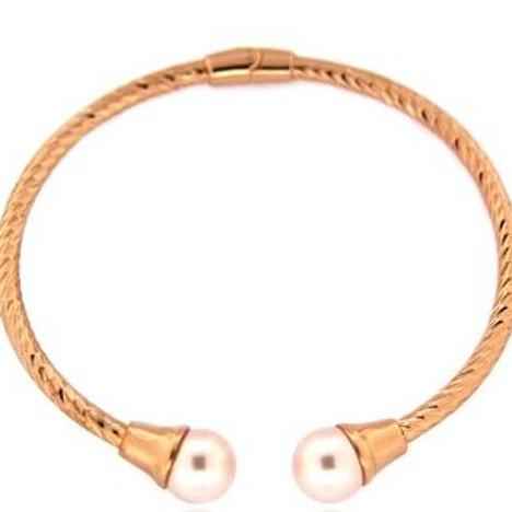Fresh Water Pearls Bangle - Rose Gold