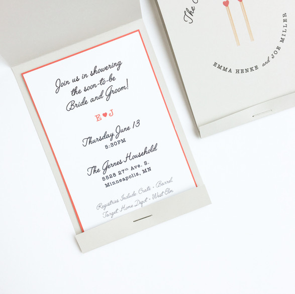 Matchbook Wedding Shower Invitation