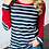 Thumbnail: Women Striped Elbow Patch Baseball Long Sleeve T-Shirt Femme Plus Size Tee Shirt
