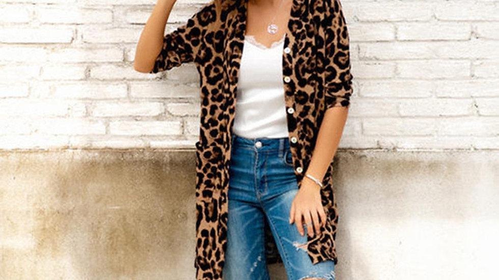 Leopard Long Coat  Open Stitch Outerwear Summer Spring Long Sleeve