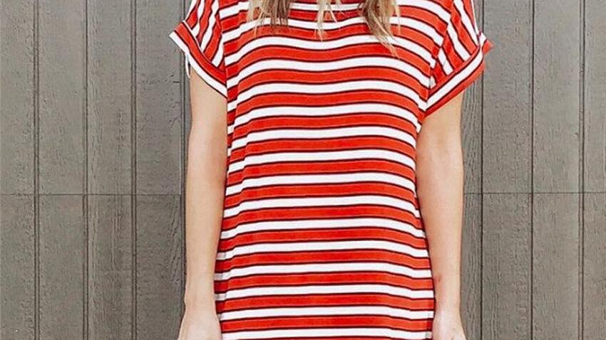 Striped Dress Women Loose Tshirt Dress Summer Mini  Short-Sleeve Dress