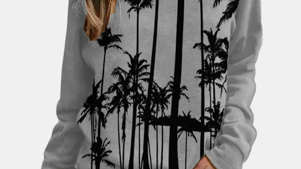 Women Winter Print Long Sleeve O-Neck Casual Sweatshirts Pullover Top