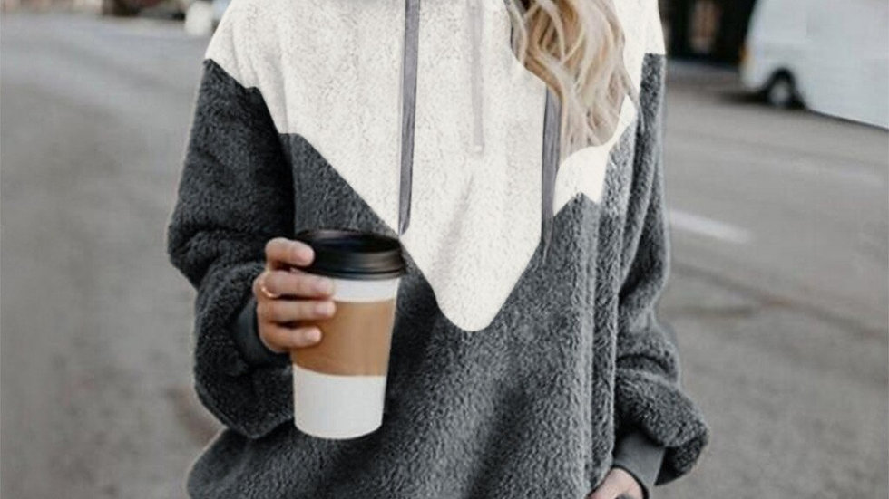 Sweatshirt Patchwork Winter Warm Wool Zipper Pocket Clothes Cotton
