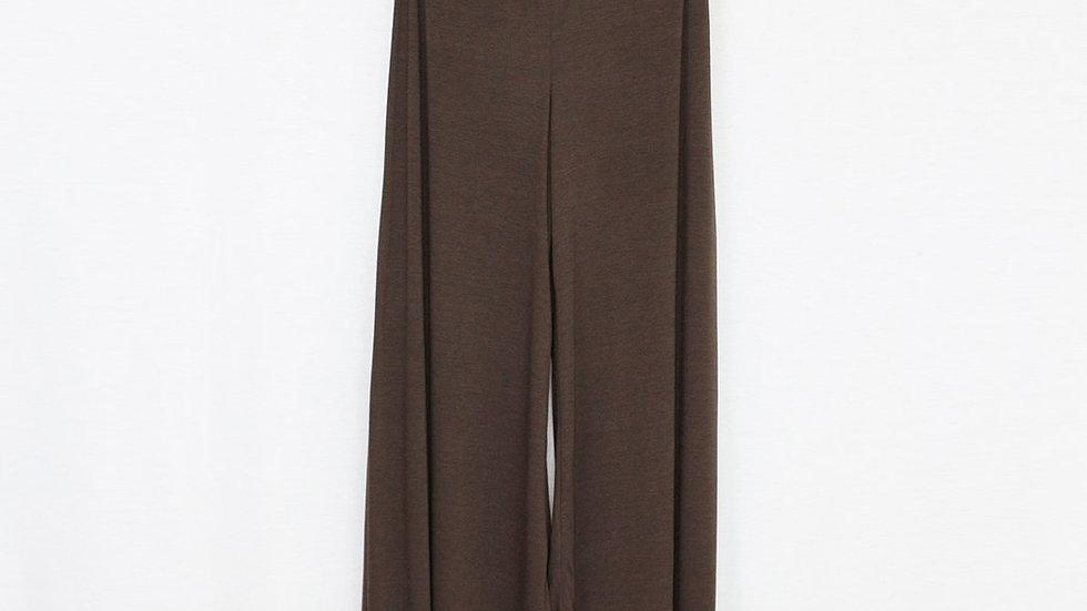Elastic Waist Wide Leg Pants Brown