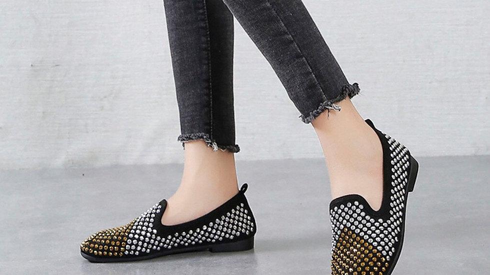 Shoes Women Casual Heels Women's Fashion Matching Rhinestone Casual Single Shoes