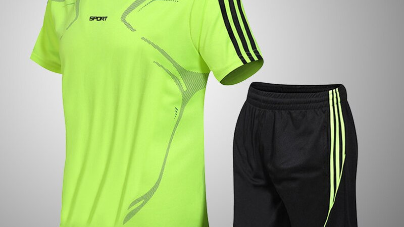 Brand Men's Sportswear Suit GYM Fitness Clothing Football Training Set Jersey