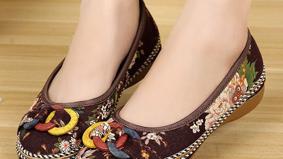 Shoes Women Casual  Beading Casual Embroidered Shoes Wooden Hemp Rope Shoes