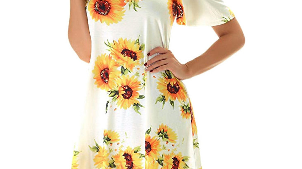 Sunflower  Summer Beach  Dress Off Shoulder Loose Robe Femme Summer Dress