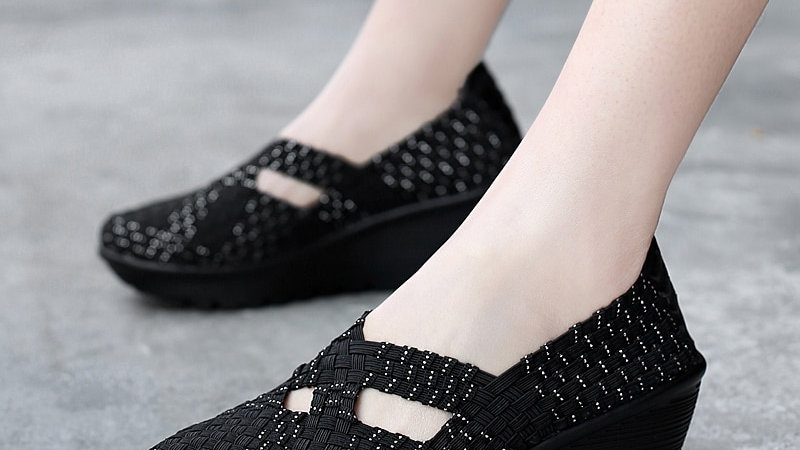 Fashion Summer Sneakers Slip on Breathable Platform Woven  Casual Handmade