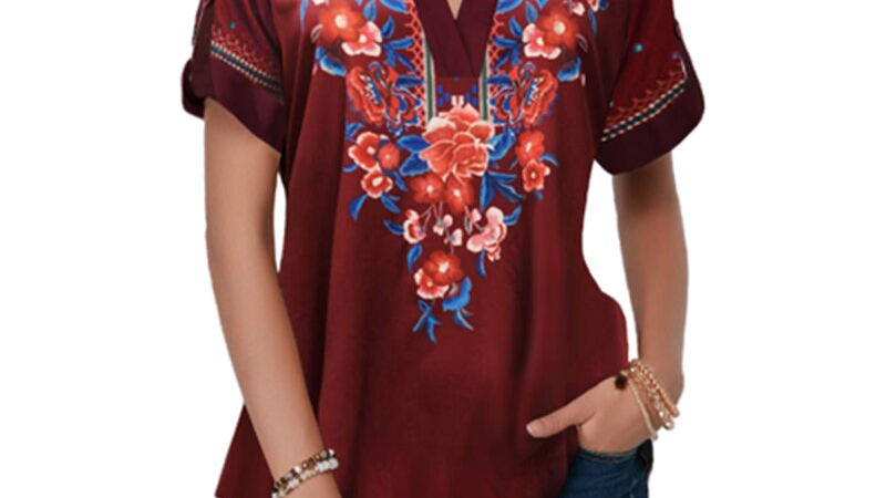 Fashion Women Summer T-Shirts Short Sleeve V-Neck Printed Long Shirt Slim