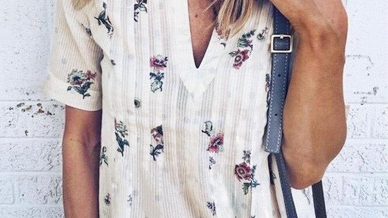 Women Blouse Floral V-Neck Short Sleeve Summer Fashion Women Casual Loose Shirt