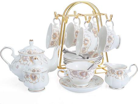 21-Piece Porcelain Ceramic Coffee Tea Gift Sets, Cups& Saucer Service for 6, Teapot, Sugar Bowl