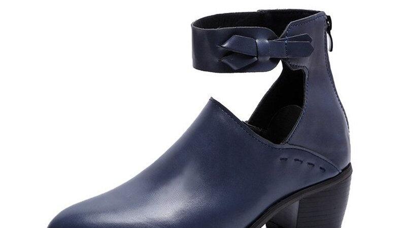 Fashion Women Shoes Thick Heel Dress Zipper Ladies Party Female Pumps  shoes