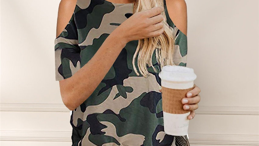 Camouflage T Shirt Hollow Out Summer Short SleeveTie Loose New Design Summer Top