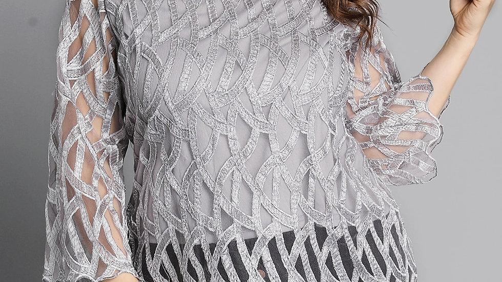 Geometric Mesh Patchwork Shirts Women Transparent Sleeve Tops Elegant