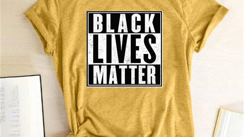 Letter Print Tops Blacks Lives Matter Shirt Women T-Shirt Casual Loose Tops