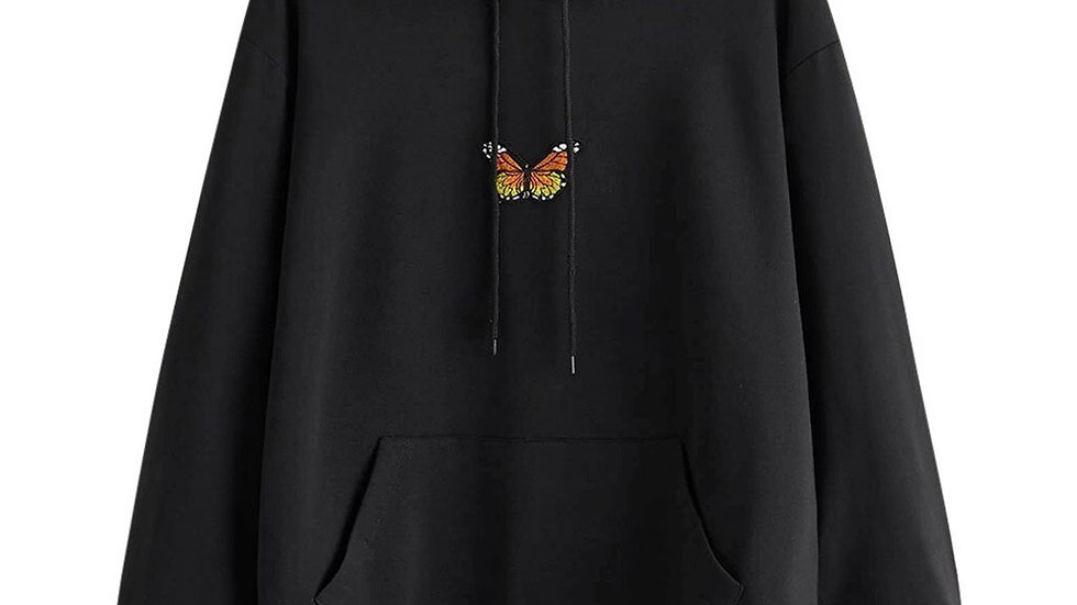 Feitong Hoodies Women Clothes Butterfly Print Sweatshirt Long Sleeve Pocket