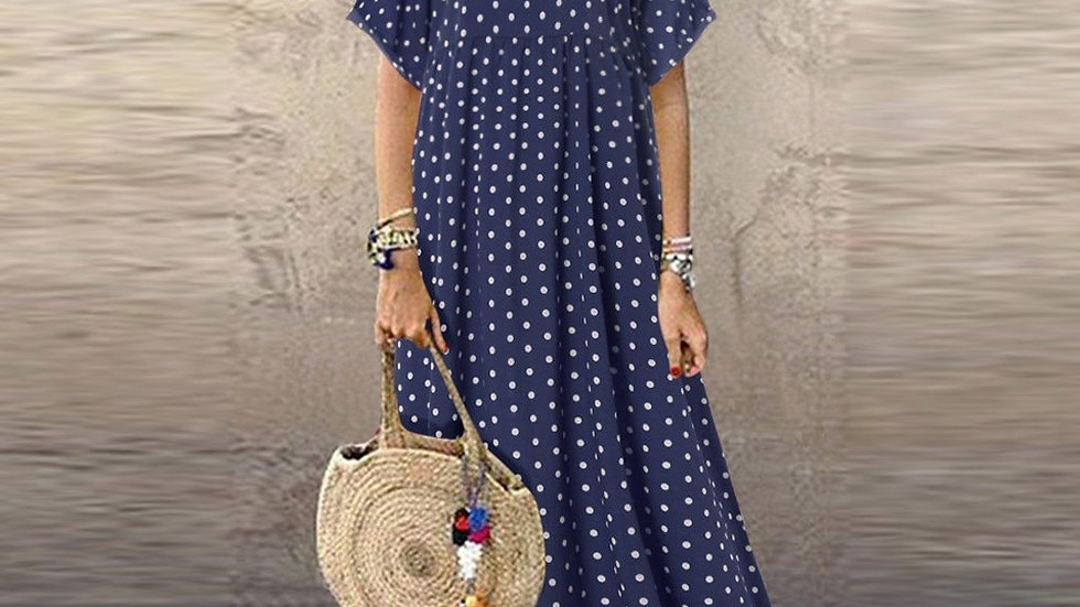Women Vintage O-Neck Long Maxi Dress Dot Peinted Casual Summer Dress Beach dress