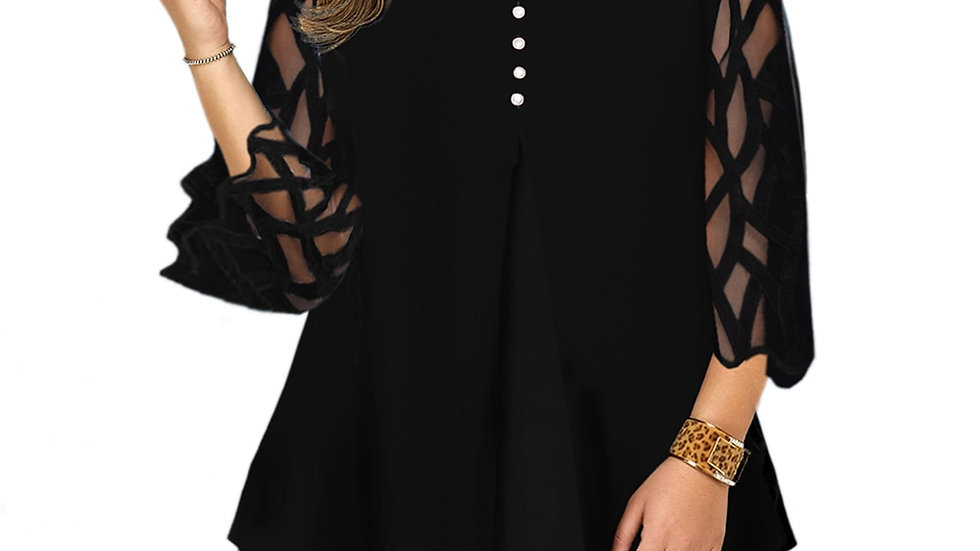 Geometric Translucent Sleeve Plus Size Blouse Casual Button Womens Tops Blouses