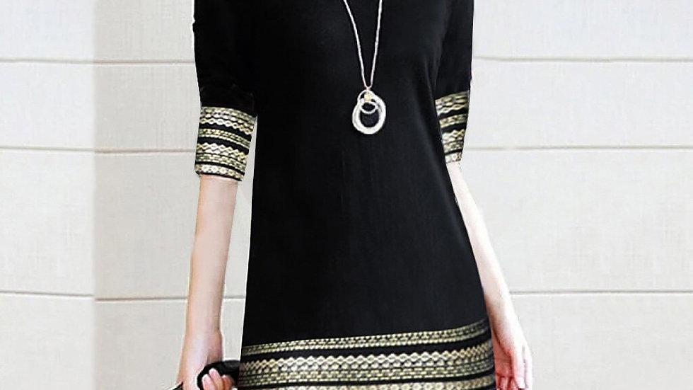 Women Dress  Casual Vintage Elegant Splice Half Sleeve Easy Mini Traight Dress