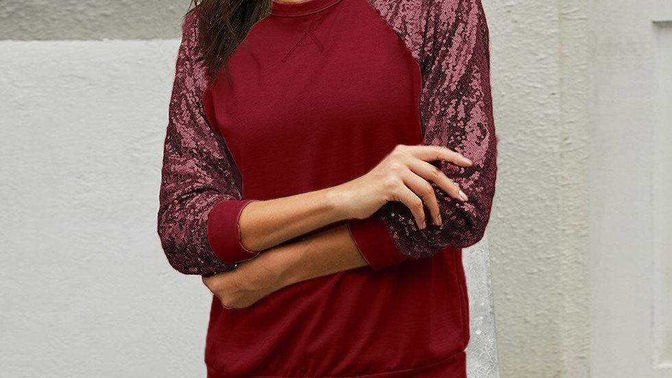 Sequines Long Sleeve Tops Tee Shirts 2021 Women Clohtes Spring Autumn T-ShiRT