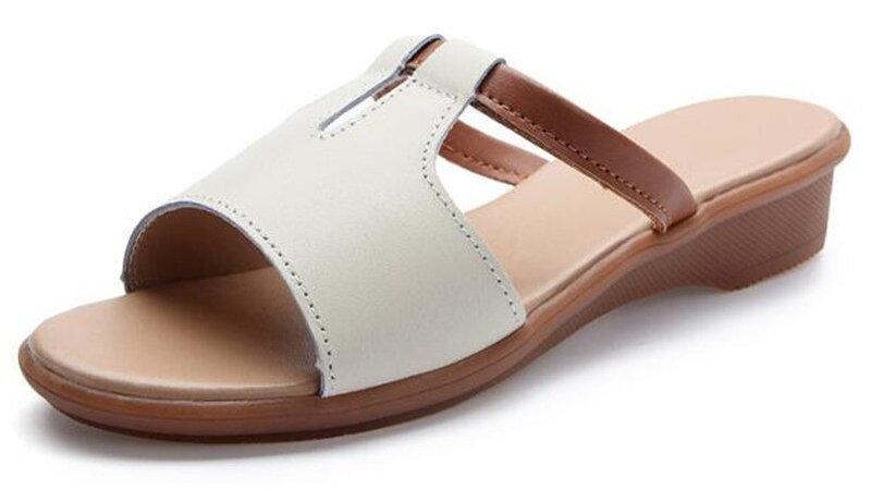 Genuine Leather Shoes Woman Flip Flops Wedges Fashion Platform Slides shoes