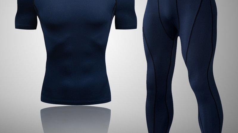 2pcs / Set Men's Tracksuit Sport Suit Gym Fitness Compression Clothing