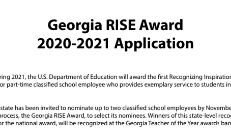 Submit Your Nomination for the Georgia RISE Award