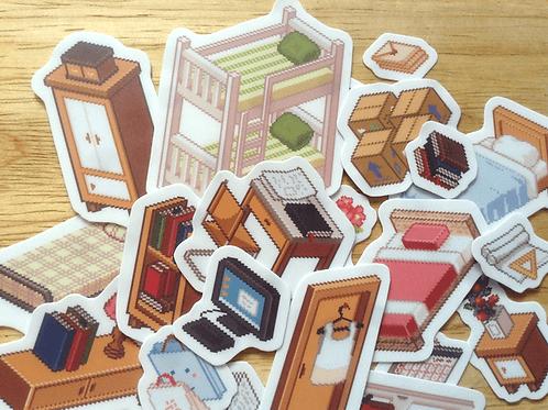 Isometric Pixel Room Stickers