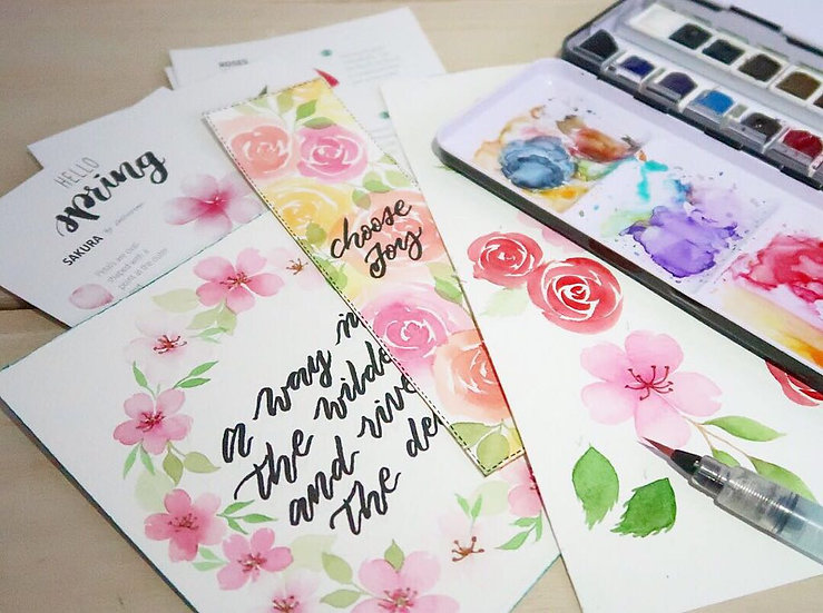 Brush Calligraphy & Loose Florals Watercolour