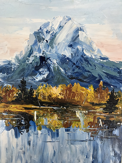 Thick Layering Mountainscape Knife Painting