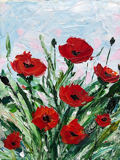 Poppy Floral Knife Painting
