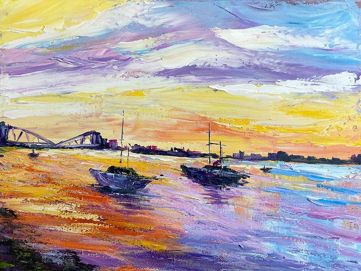 Sunset Boat Knife Painting