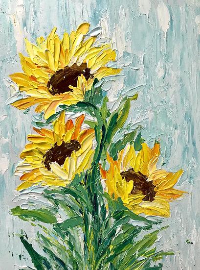 Sunflower Bouquet Knife Painting