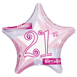 21st Pink Shimmer Balloons