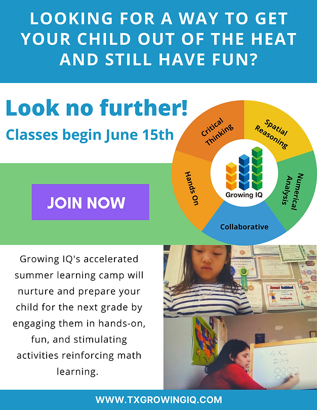 Growing IQ - Summer Camp Details - Hands on After School Math Enrichment program for Elementary age students, focusing on critical thinking, reasoning, problem solving, and growth mindset in Frisco, Collin County, Texas