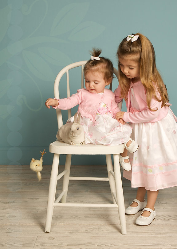 Bunny photo.  Easter photo.  Children and animal photo.  Children's pink dresses photo.  Children's portraits.  Silly kids photo.