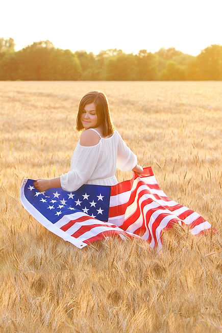 American Flag in Wheat Field Photo