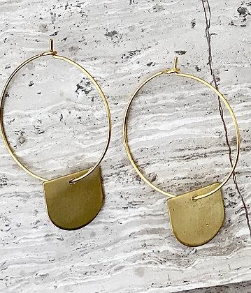 """FRÜG """"Drika"""" Vintage Brass Drop Earrings"""