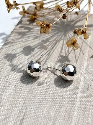 STERLING Faceted Ball Earrings
