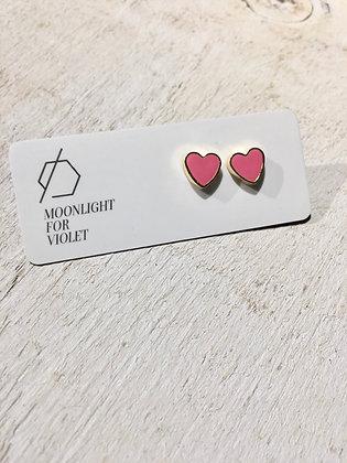 MOONLIGHT FOR VIOLET 'Sunset Pink' Heart Earrings MVH01