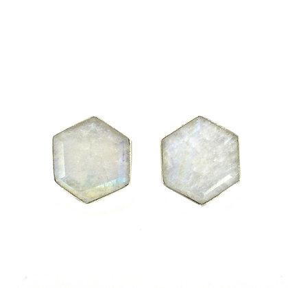 SARASWATI 'Honeybee Studs' Sterling Silver+ Moonstone SWE06